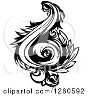 Clipart Of A Black And White Floral Flourish Design Element Royalty Free Vector Illustration