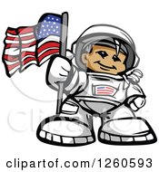 Clipart Of A Proud Male Astronaut With An American Flag Royalty Free Vector Illustration