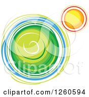 Clipart Of A Green Planet And Sun Royalty Free Vector Illustration