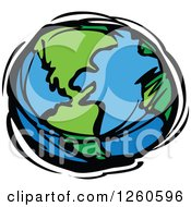 Clipart Of A Sketched Planet Earth In Blue And Green Royalty Free Vector Illustration