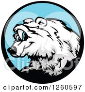 Smiling Polar Bear Mascot In A Blue Circle