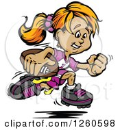 Clipart Of A Happy Sporty White Powder Puff Girl Running With A Football Royalty Free Vector Illustration