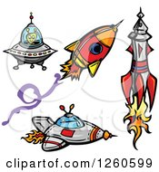 Alien With Rockets And A Flying Saucer