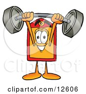 Price Tag Mascot Cartoon Character Holding A Heavy Barbell Above His Head