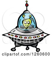Clipart Of A Green Alien Flying A Saucer Royalty Free Vector Illustration