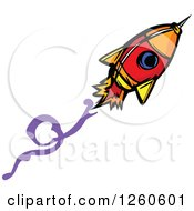 Clipart Of A Flying Rocket Royalty Free Vector Illustration