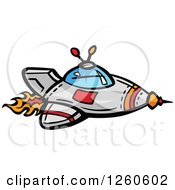 Clipart Of A Rocket With Flames Royalty Free Vector Illustration