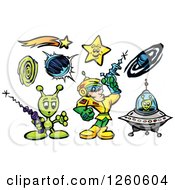 Clipart Of A Space Man With Aliens Stars And Planets Royalty Free Vector Illustration by Chromaco