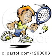 Clipart Of A Happy Sporty White Boy Swinging At A Tennis Ball Royalty Free Vector Illustration