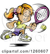 Clipart Of A Happy Sporty White Girl Swinging At A Tennis Ball Royalty Free Vector Illustration