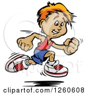Clipart Of A Sporty White Boy Sprinting Royalty Free Vector Illustration