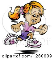 Clipart Of A Sporty White Girl Sprinting Royalty Free Vector Illustration