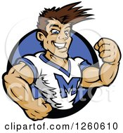 Clipart Of A Buff Male Cheerleader In A Blue Circle Royalty Free Vector Illustration by Chromaco