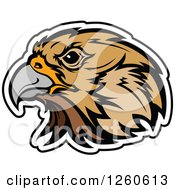 Clipart Of A Falcon Mascot Head Outlined In White Royalty Free Vector Illustration