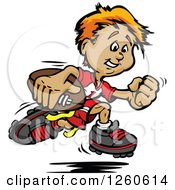Clipart Of A Happy Sporty White Boy Running With A Football Royalty Free Vector Illustration by Chromaco