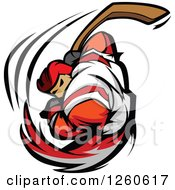 Clipart Of A Buff Male Hockey Player Swinging A Stick Royalty Free Vector Illustration