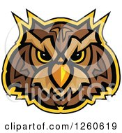 Glaring Owl Mascot Head Outlined In Yellow