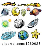 Clipart Of A Moon Earth Planets And Stars Royalty Free Vector Illustration by Chromaco