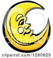Clipart Of A Happy Yellow Crescent Moon Man Royalty Free Vector Illustration