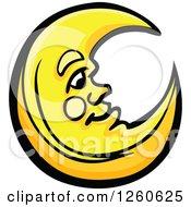 Happy Yellow Crescent Moon Man