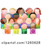 Clipart Of A Crowd Of Diverse People In A Community Royalty Free Vector Illustration