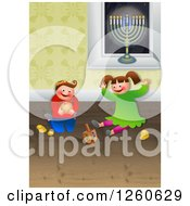 Clipart Of A Happy Chanukah Children Playing With Toys And Celebrating The Festival Of Hanukkah Royalty Free Illustration