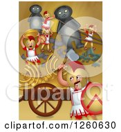 Clipart Of A Hanukkah Scene Of Greek Soldiers Looting The Jewish Temple And Putting Up Stone Idols Royalty Free Illustration