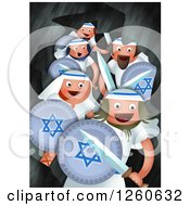 Clipart Of A Hanukkah Scene Of Judah And The Maccabees Hiding In A Cave While Making Battle Plans Royalty Free Illustration