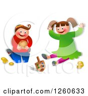 Clipart Of A Happy Chanukah Children Playing With Toys Royalty Free Illustration