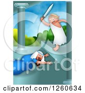 Clipart Of A Hanukkah Scene Of The Greek Ruler Antiochus Making A Jewish Man Bow Down To Him Royalty Free Illustration