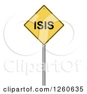 Clipart Of A 3d Yellow ISIS Warning Sign Royalty Free Illustration