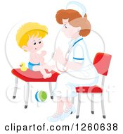 Clipart Of A White Female Nurse Tending To A Toddler Boy Royalty Free Vector Illustration