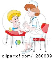Caucasian Female Nurse Tending To A Toddler Boy