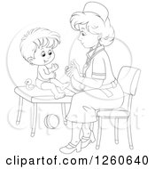 Clipart Of A Black And White Female Nurse Tending To A Toddler Boy Royalty Free Vector Illustration by Alex Bannykh