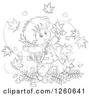 Clipart Of A Black And White Happy School Boy Jumping In Autumn Leaves Royalty Free Vector Illustration