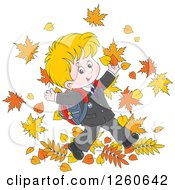 Clipart Of A Happy Blond White School Boy Jumping In Autumn Leaves Royalty Free Vector Illustration