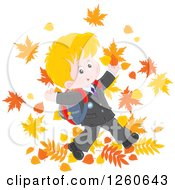 Clipart Of A Happy Blond Caucasian School Boy Jumping In Autumn Leaves Royalty Free Vector Illustration