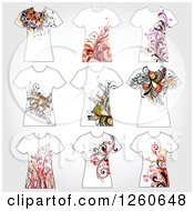 Clipart Of Floral T Shirts Royalty Free Vector Illustration by OnFocusMedia