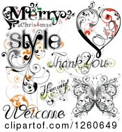 Clipart Of Flourish Designs Royalty Free Vector Illustration by OnFocusMedia