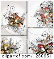 Clipart Of Backgrounds Of Abstract Floral Royalty Free Vector Illustration