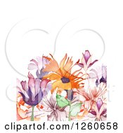 Background Of Watercolor Flowers And Text Space