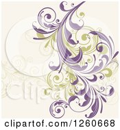 Background Of Green And Purple Floral