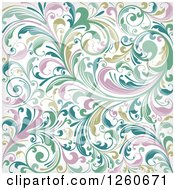 Clipart Of A Background Of Abstract Floral Royalty Free Vector Illustration