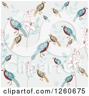 Background Of Floral And Birds
