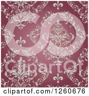 Clipart Of A Background Of Ornate Vintage Floral On Red Royalty Free Vector Illustration