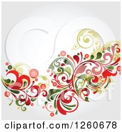Clipart Of A Green And Red Floral Background With Shading Royalty Free Vector Illustration