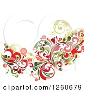 Green And Red Floral Background