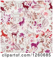 Clipart Of A Background Of Deer And Flowers Royalty Free Vector Illustration