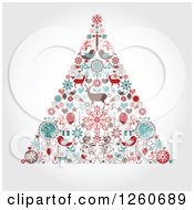 Clipart Of A Retro Christmas Tree Made Of Up Holiday Items On Shading Royalty Free Vector Illustration by OnFocusMedia