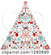 Clipart Of A Retro Christmas Tree Made Of Up Holiday Items Royalty Free Vector Illustration by OnFocusMedia